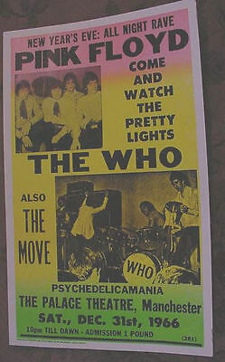 PINK FLOYD SYD BARRETT THE WHO 60'S 1966 tour CONCERT POSTER ART david gilmore