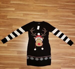 Macys Christmas Sweaters.Details About Ugly Christmas Sweater Dress Reindeer Black White Red Brown Size Small Macy S