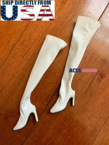 """1//6 White Over The Knee Boots HOLLOW For 12/"""" Hot Toys PHICEN Female Figure USA"""
