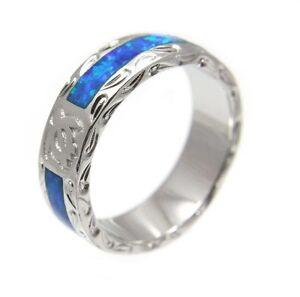 Opal Silver 925 Hawaiian Honu Turtle Eternity Wedding Band Ring