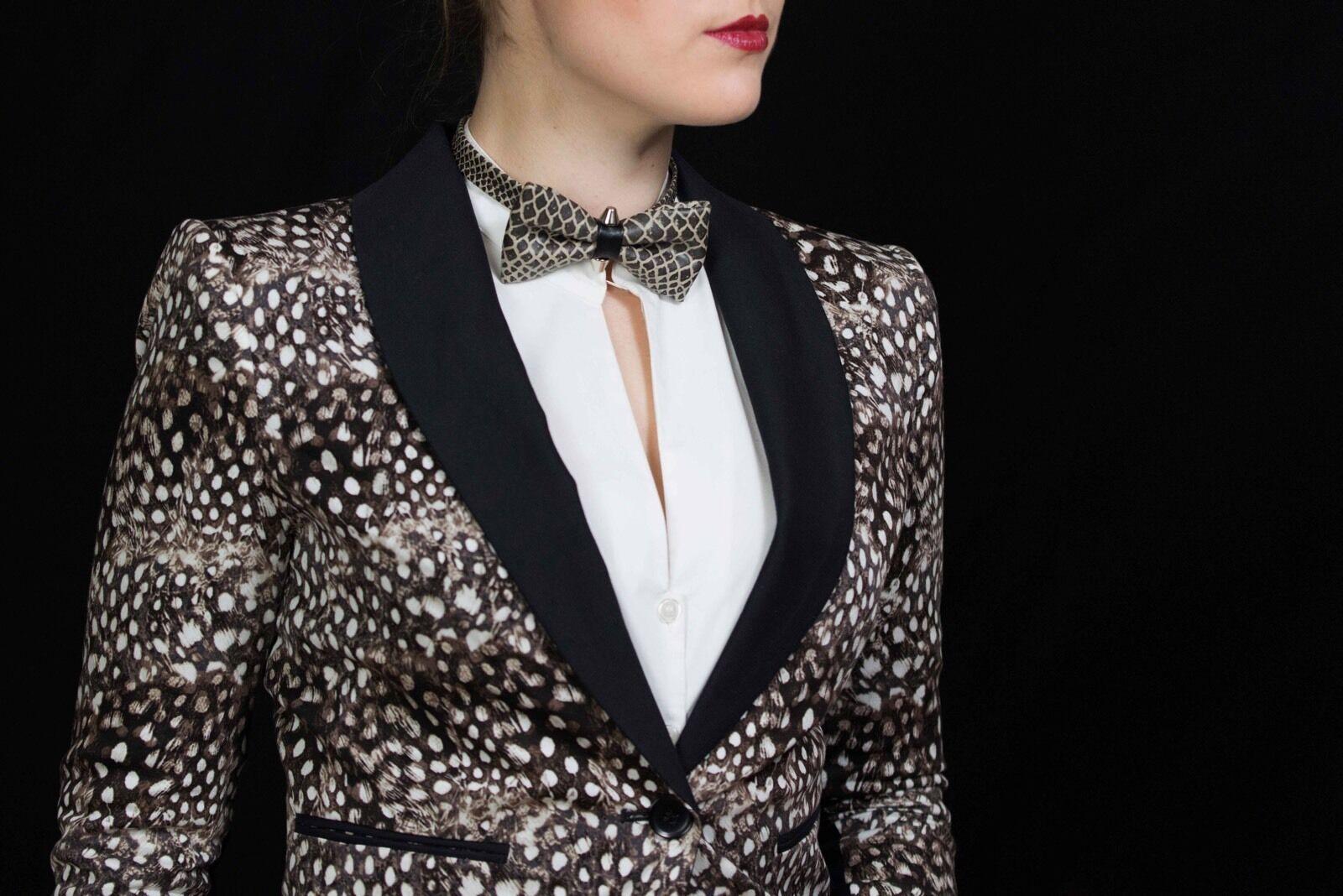 Bow Tie For Women Snakeskin W/ Studs