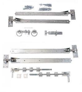 ajustable-galvanizado-61cm-Gancho-amp-Cinta-Puerta-Bisagra-Juego-Para-Doble-GATES