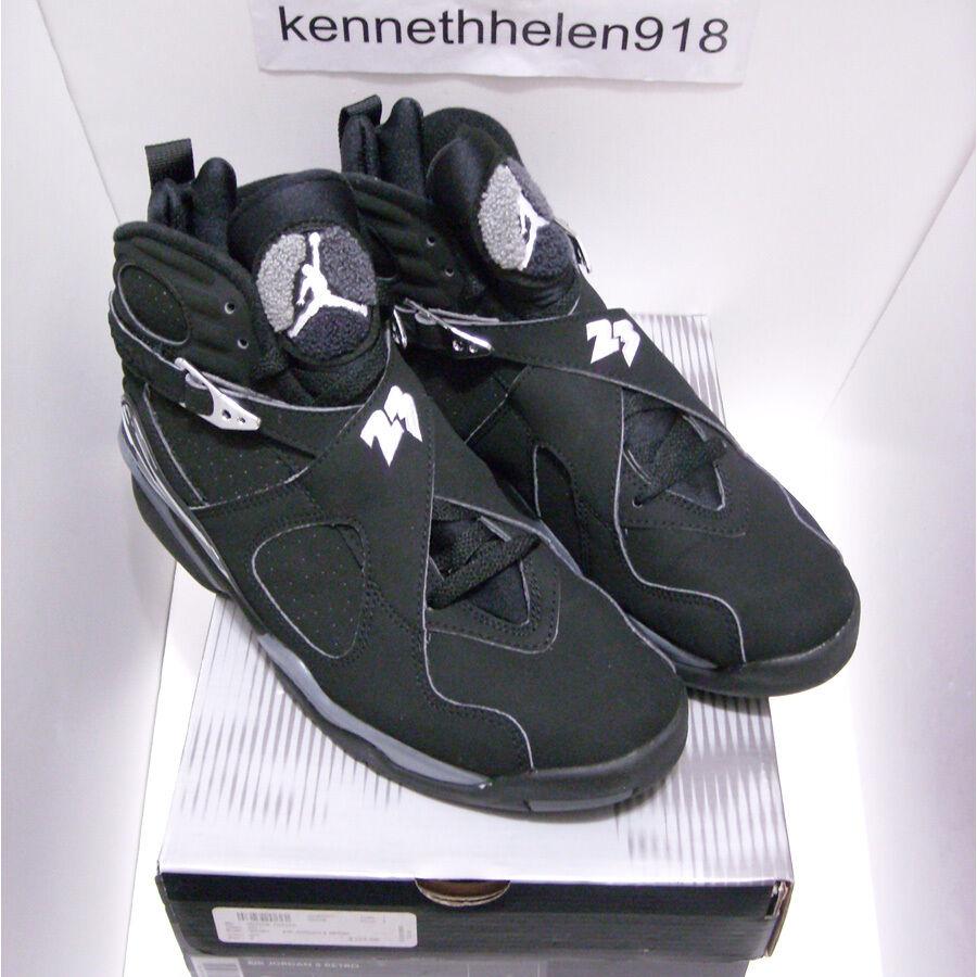NEW 2003 NIKE AIR JORDAN 8 VIII RETRO BLACK CHROME 305381-001 MENS SIZE 9