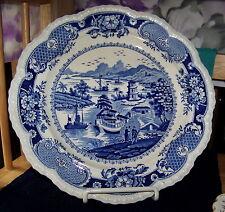 "Antique IRONSTONE 10.25"" PLATE  BLUE TRANSFERWARE ""INDIA TEMPLE"" Gadrooning Edge"