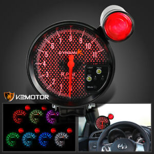 5 12v black car rpm 11000k tachometer meter gauge 7 color led image is loading 5 034 12v black car rpm 11000k tachometer sciox Choice Image