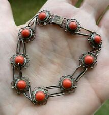 VINTAGE GENUINE RED CORAL  STERLING SILVER 925  BRACELET 12 mm 8.5gr