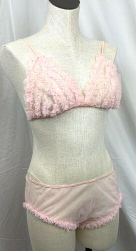 Vintage Polka Dot Bra 1940/'s rayon pink /& white lace underwire bra