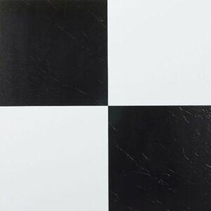 black and white self adhesive vinyl floor tiles peel stick kitchen bathroom ebay. Black Bedroom Furniture Sets. Home Design Ideas