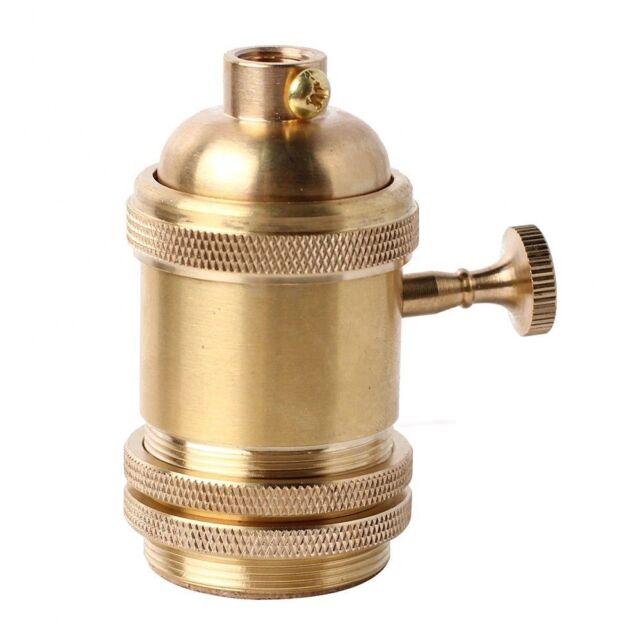 Vintage Retro Edison E26/E27 Brass Lamp Bulb Keyed Holder Socket Decor