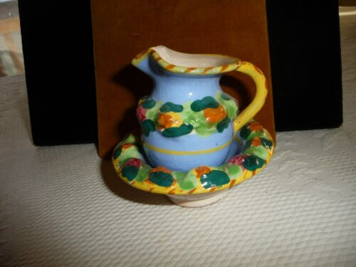 #330 vtg deorative minature Pitcher & Bowl ITALY