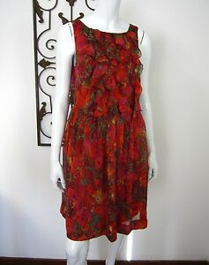 Maggy-London-Sleeveless-100-Silk-Knee-Length-Ruffled-Dress-Size-8-Red-Coral
