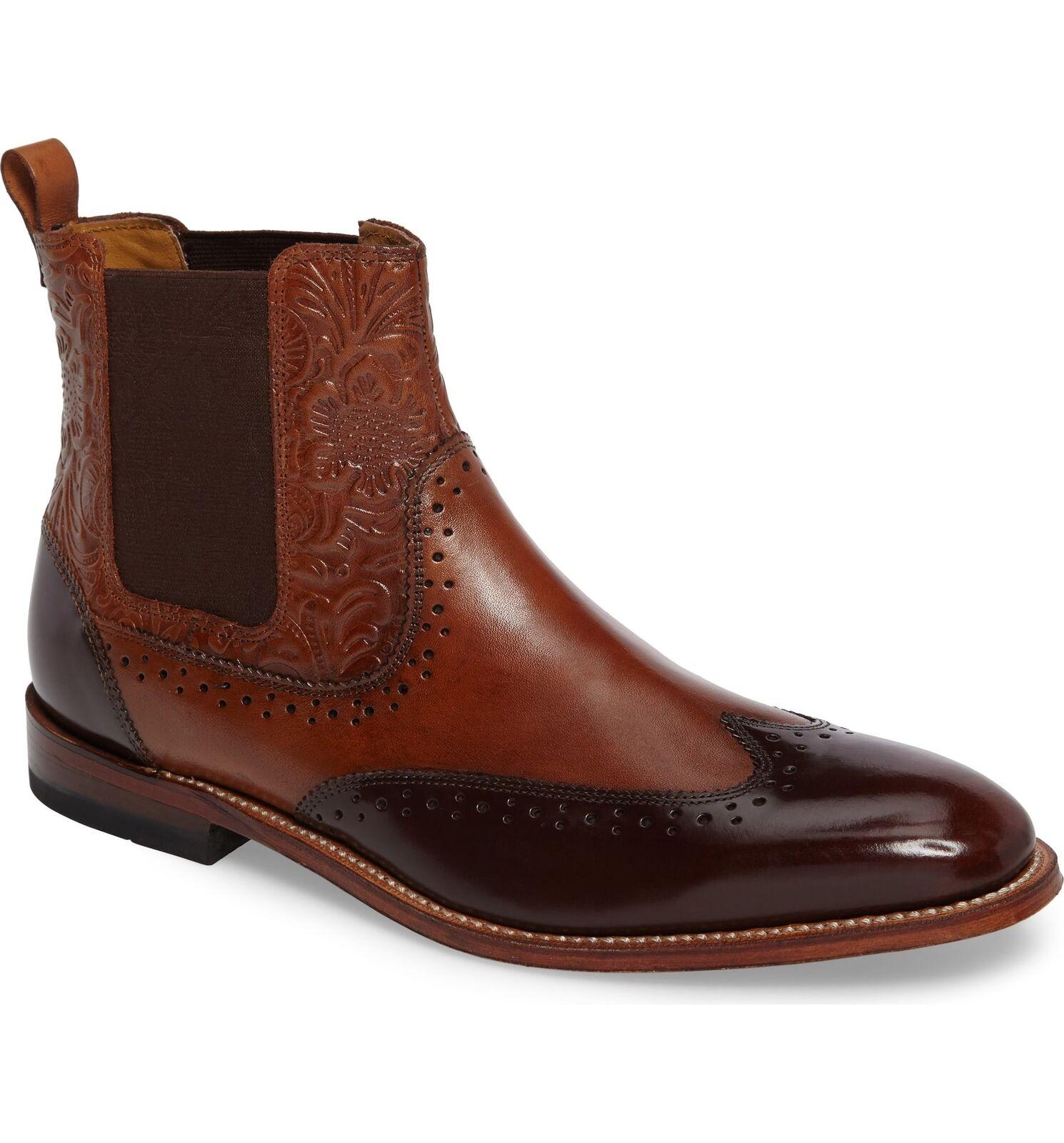 Stacy Adams Para Hombre M2 punta del ala Chelsea Coñac Multi Cuero botas 00084-229