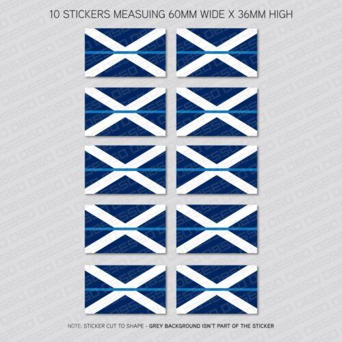 10 x Thin Blue Line écossais Sautoir Drapeau Vinyle Sticker Autocollant Voiture Van-SKU6310
