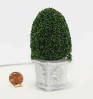 Dollhouse Miniature Green Topiary Plant W/square Grey Base By Model Builders Sup