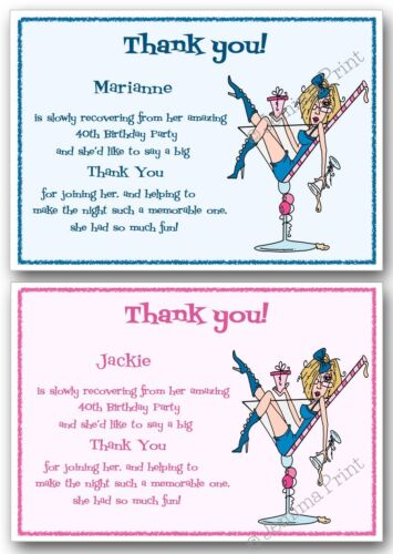 Personalised Thank you cards Birthday Party 18th 21st 30th 40th ...