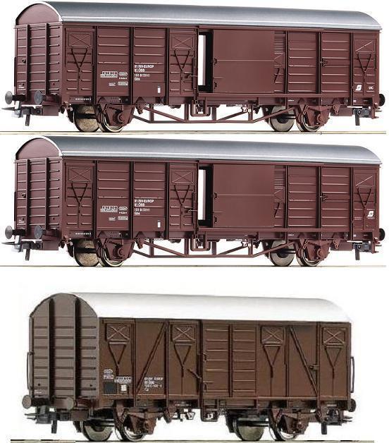 ROCO h0 Set 66015 66393 3 carri merci GBS GS TETTO ARGENTO ÖBB ep.4 NUOVO ov a 76100
