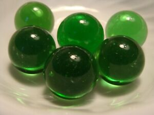 6-Vintage-Transparent-Jewel-Gem-Marbles-1IN-Shooters-Forest-Green-Collect-Play