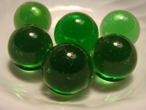 6 Vintage Transparent Jewel Gem Marbles 1IN Shooters Forest Green Collect Play