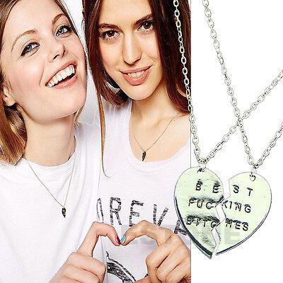 Best Friends Forever Memorable Love Silver Alloy Necklace Split Heart Pendant