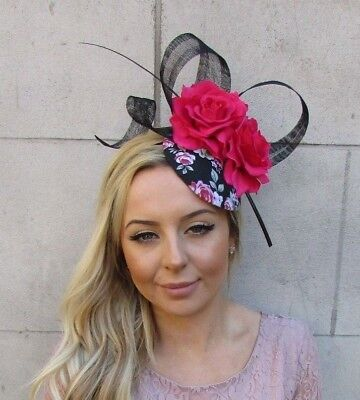 Black Burgundy Hot Pink Orange Rose Flower Pillbox Hat Hair Fascinator Clip 5813