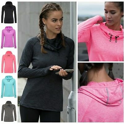 Ehrlich Ladies Cowl Neck Long Sleeve Running Training Sports Hooded Top Thumb Holes