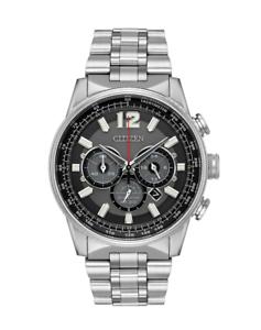 Citizen-Eco-Drive-Men-039-s-Nighthawk-Chronograph-Silver-Tone-43-mm-Watch-CA4370-52E