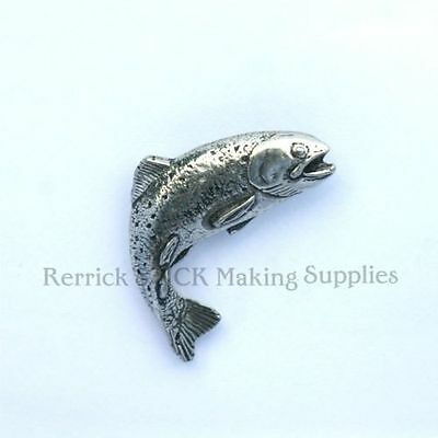 Leaping Scottish Salmon Pewter Pin Badge in Gift Pouch FREE UK Delivery!