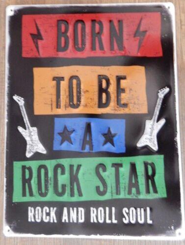 """Bright métal doré style VINTAGE SIGNE /""""Née pour être une rock star rock /& roll/"""""""