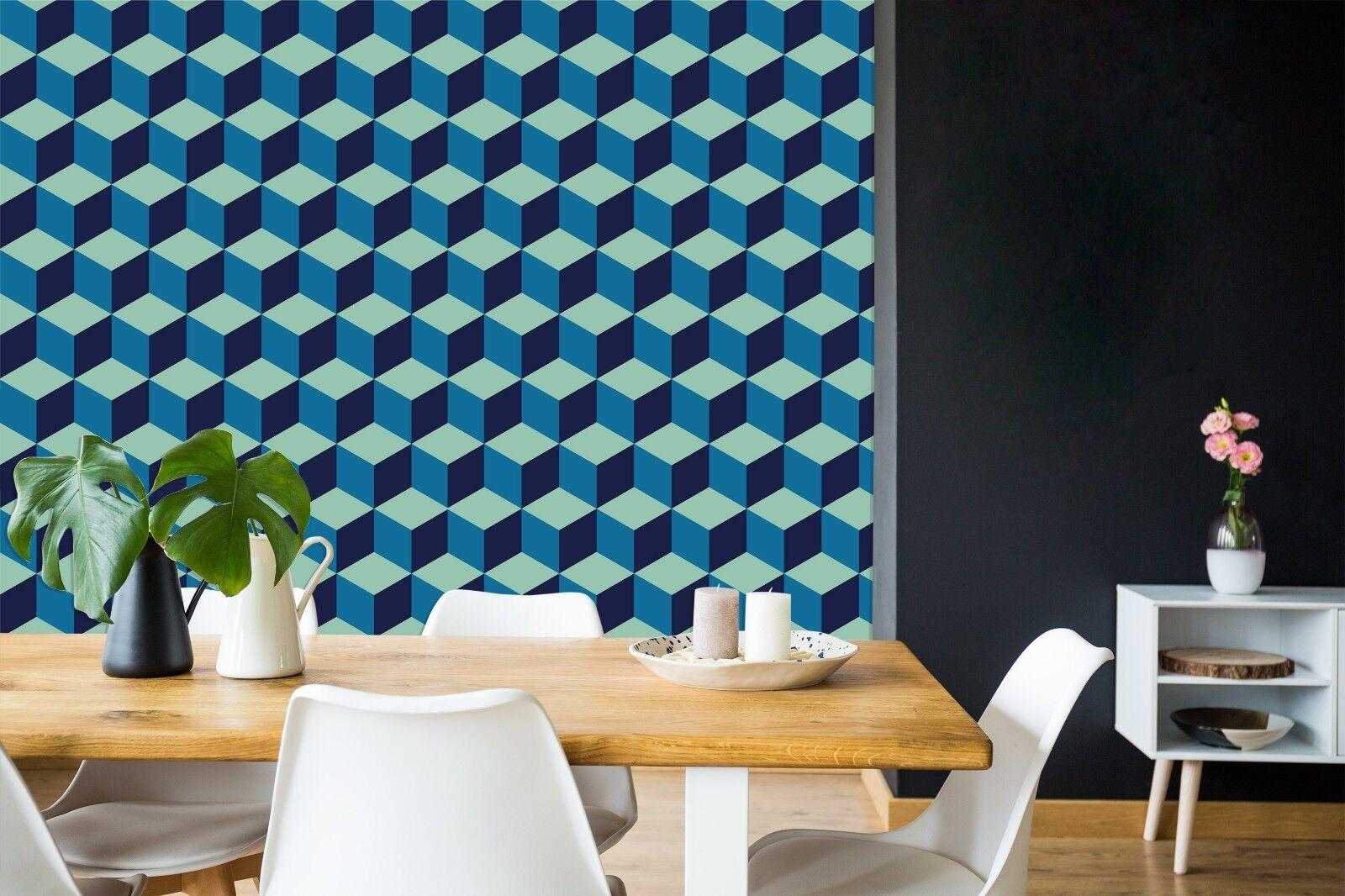 3D Blau Grid Patterns 26 WallPaper Murals Wall Decal Decal Decal WallPaper AU Summer 5801aa