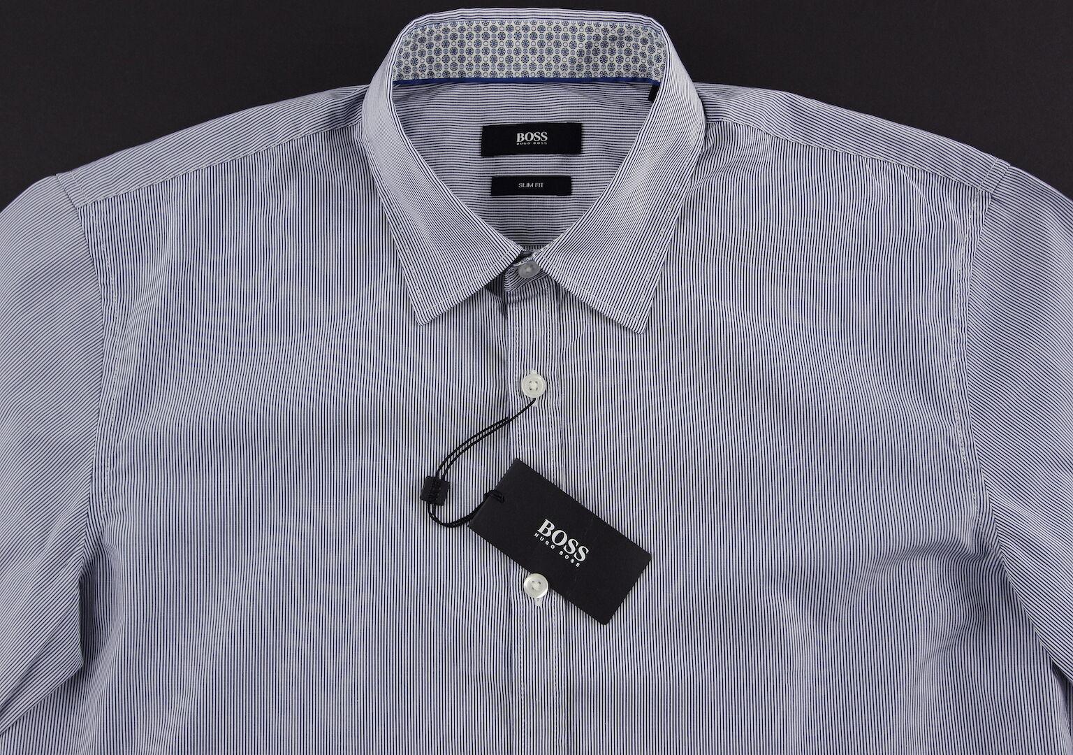 Men's HUGO BOSS White Navy bluee Striped Short Sleeve S S Shirt Small S NWT NEW