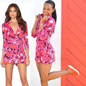1f45155c527 Details about  398 Diane Von Furstenberg Celeste Eden Garden Wrap Silk  Jersey Short Romper 12