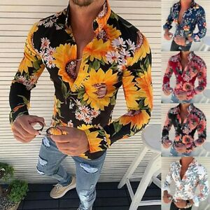 Men-039-s-Long-Sleeve-Flower-Printed-T-Shirt-Slim-Fit-Casual-New-Fashion-Blouse-Tops