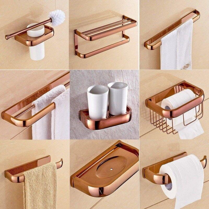 Rose Couleur Or Laiton Salle de bains Accessoires Set bain Hardware Towel Bar yset 022