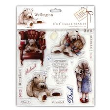 "WELLINGTON BEAR - 8""x8"" Clear Stamp Set - DoCrafts"