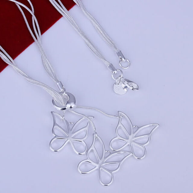 "925 Silver Butterfly Multi-Chain Necklace, Lariat style, 18"" long,  ladies gift"