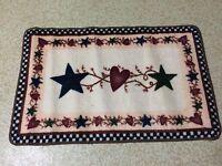 Country Primitive Stars & Hearts Berries Folk Art Checkers Bath Rug Mat Decor