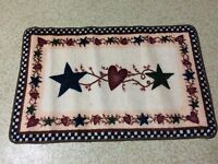 Country Primitive Stars & Hearts Berries Folk Art Checkers Bath Rug Mat Decor