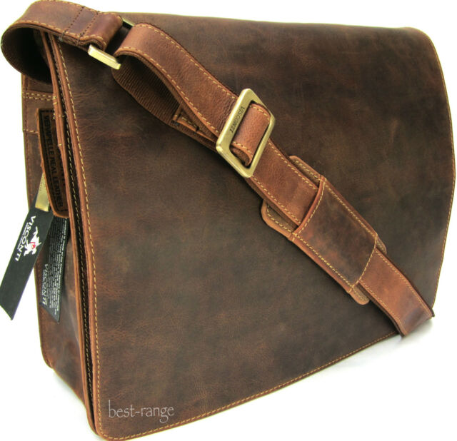 Large Messenger Shoulder Bag Real Leather Tan Visconti Harvard 18548 New
