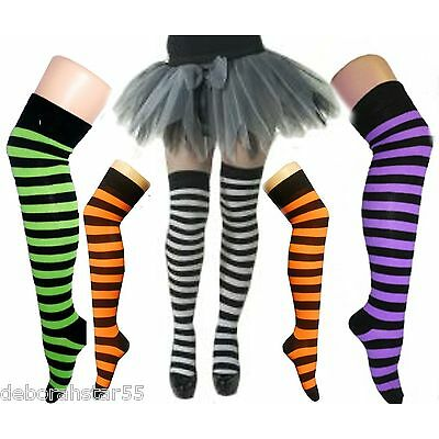 Witch Costume Womens Halloween Green Orange Purple Stripey Overknee Socks O/S