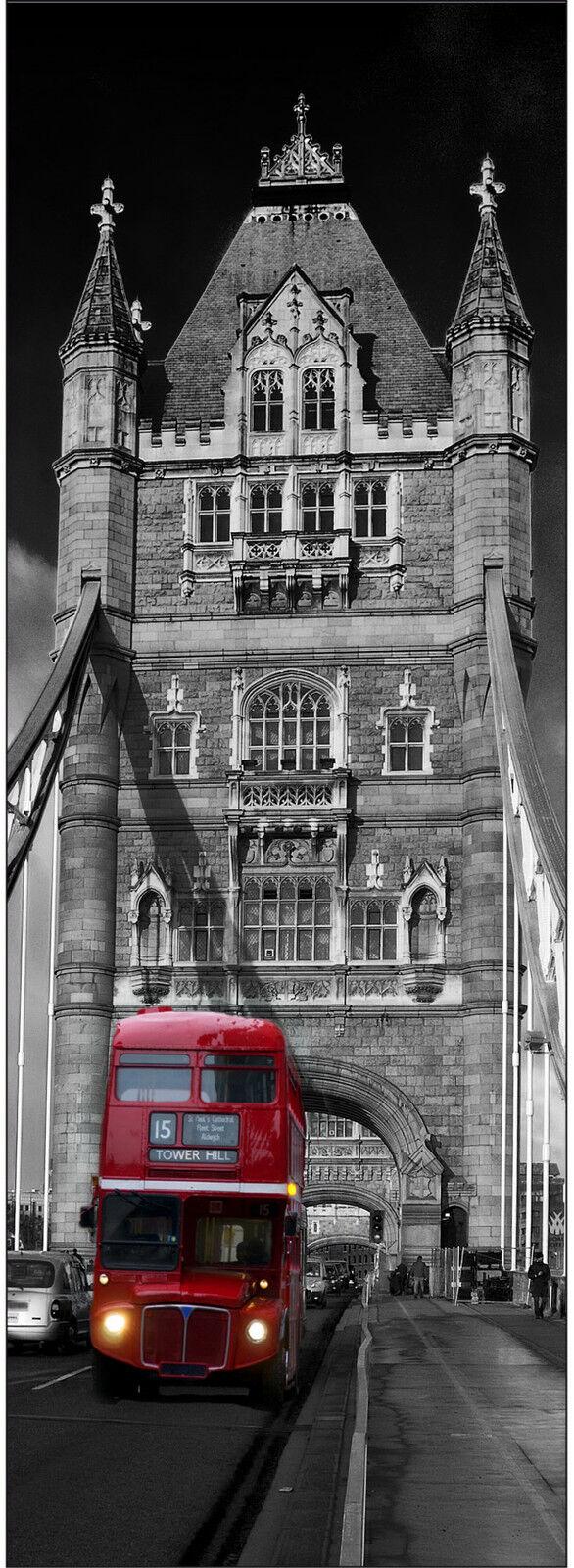Adhesivo Puerta Decoración Trampantojo Londres Puente Autobús Ref 614 (4 Tallas