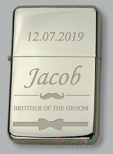 BROTHER OF THE GROOM Personalised Petrol Lighter FREE Engraved WEDDING GIFT