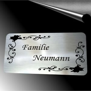 edelstahl t rschild mit gravur namensschild klingelschild briefkastenschild ebay. Black Bedroom Furniture Sets. Home Design Ideas