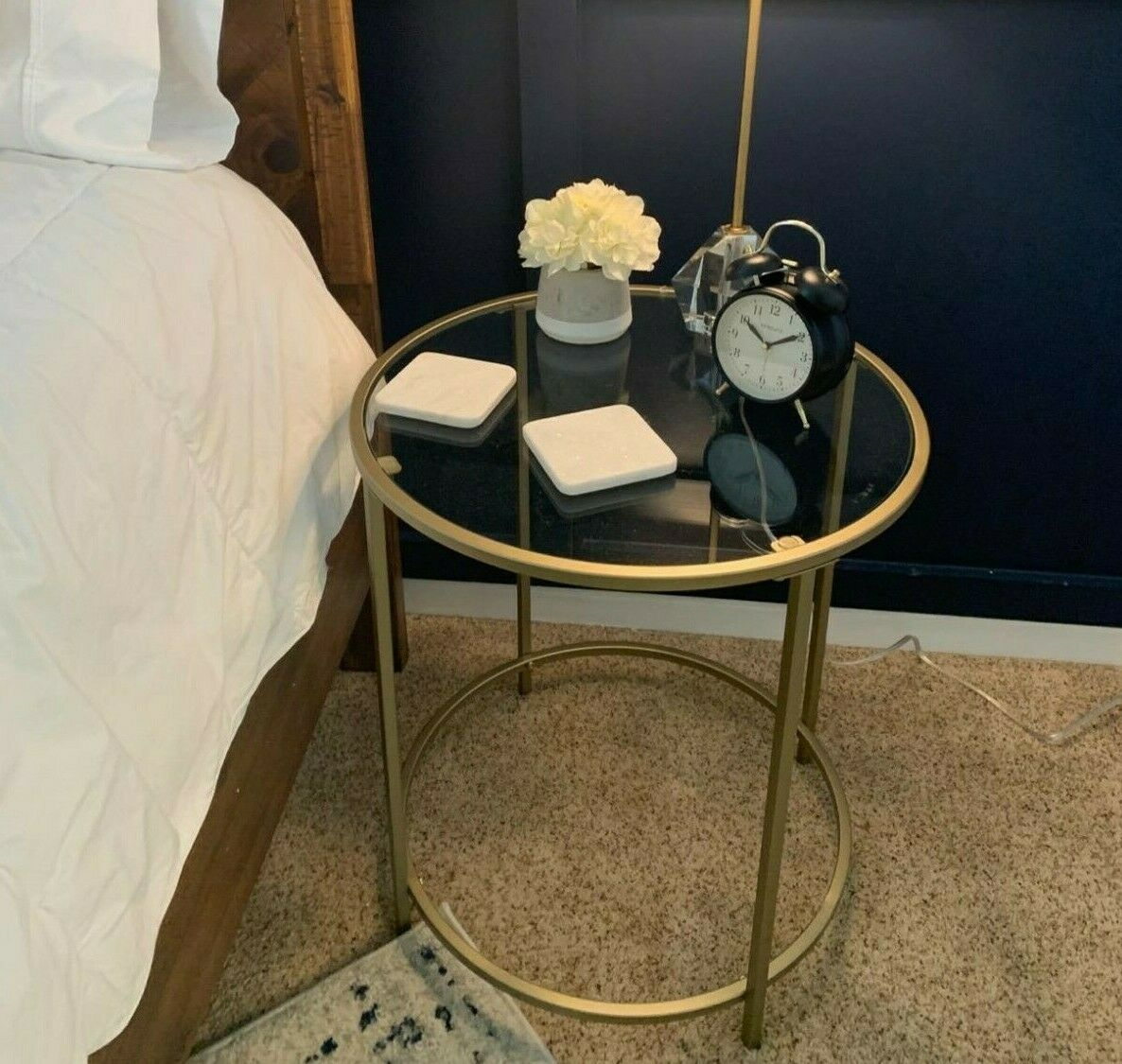 Round Glass Side Table Gold Plant Stand Coffee Tea Occasional Accent Bedside