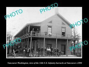 OLD-LARGE-HISTORIC-PHOTO-OF-VANCOUVER-WASHINGTON-14th-US-INFANTRY-BARRACKS-1890
