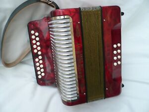 Lovely Hohner Double Ray De luxe Two Row Button Accordion in B/C Three voice.
