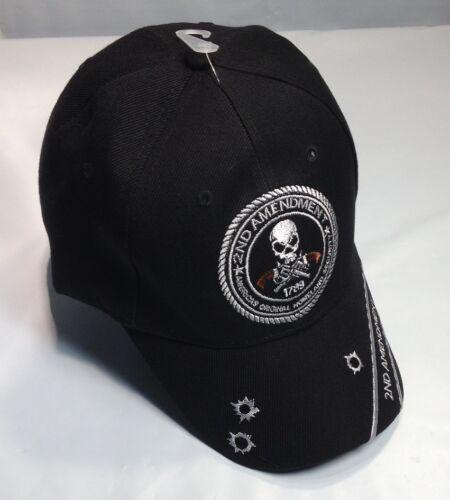 2nd Amendment Ball Cap Biker Hat Army USMC Navy Homeland Security BULLET HOLES