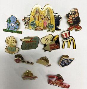 Vintage McDonalds Restaurant Clutch Back Hat/Lapel Pins Lot Of 12