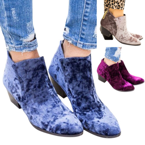 Details about  /Women Casual Ankle Boots Vintage Low Block Heel Zip Up Round Toe Shoes Booties