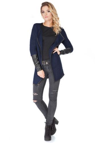 Donna spessa pesanti Blazer Eco pelle Maniche Corte Poncho Sweater Size 8-12 fas27