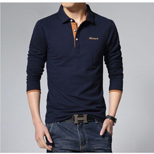 Mens Polo Shirt Fashion Brand High Quality Long Sleeve Solid Polo Shirt